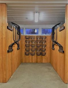 This is the blanket room. It's perfect place for blankets to air dry and the baskets are meant for holding turnout boots and fly spray for each horse.
