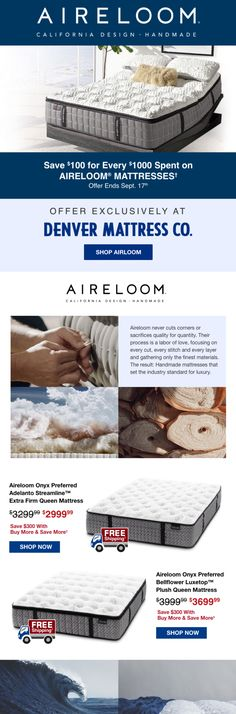 Don't miss these Labor Day Savings! Save up to $300 on Aireloom luxury mattresses through 9/17/20 at Denver Mattress! Plus, take advantage of free shipping. #denvermattress #laborday #exclusiveoffer #mattress Sleep Better, Mattresses, Old World, Denver, Free Shipping, Luxury