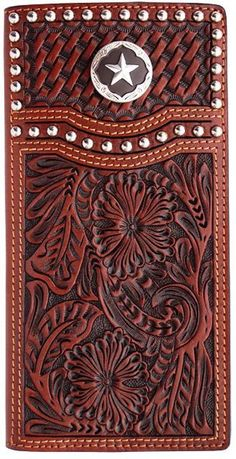 The basketweave and concho are signiture cowboy styles and it makes this wallet perfect for any cowboy! Natural floral and basketweave hand-tooled leather wallet Silver tone studs Brown steel star concho Protective ID window 5 card slots 2 currency po Leather Tooling Patterns, Leather Pattern, Western Wear Stores, Custom Leather Belts, Westerns, Leather Carving, Leather Projects, Leather Crafts, Leather Design