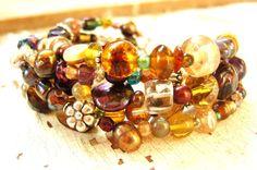 Multi Strand Beaded Bracelet. Five Strand Czech Glass Bracelet. Chunky Brown Tone Bracelet. Multi Strand Jewelry on Etsy, $38.00