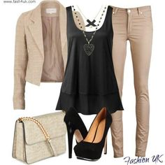 Nude/Beige with Black Outfit.