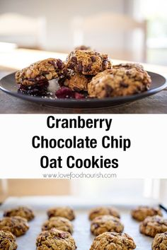 These Cranberry Chocolate Chip Oat Cookies make a fun and tasty Christmas treat. They are super easy to make! The whole family will enjoy these tasty oat cookies with their blend of cranberry and cacao chips and their moreish chewy texture. Gluten Free Christmas Recipes, Gluten Free Christmas Cookies, Best Gluten Free Recipes, Cookies Gluten Free, Oat Cookies, Gluten Free Baking, Healthy Cookies, Healthy Desserts, Easy Cookie Recipes
