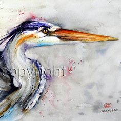 HERON 12 x 18 Colorful s/n Watercolor Print by by DeanCrouserArt