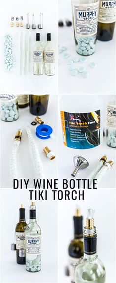 Roll out the blankets, set up the charcuterie board, uncork the wine and add some ambiance with these DIY wine bottle tiki torches.