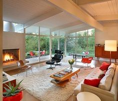 Mid-century modern living room. 1950s rancher style bungalow.