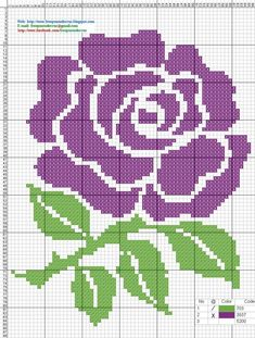 Rosa Ponto de cruz / purple Rose, Cross stitch