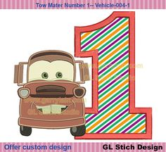 Tow Mater Embroidery Applique 1st birthday by GLStitchStudio