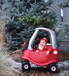 Cozy Coupe Christmas tree photo, Cozy Coupe baby photos, Baby Christmas pictures, Holiday Christmas card with baby pictures.