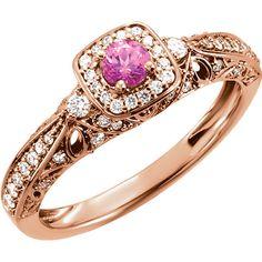 14k Rose Gold Genuine Morganite, Diamond and Pink Sapphire Ring – Sparkle & Jade