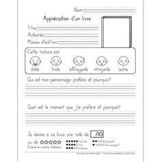 Fichier PDF téléchargeable En noir et blanc 2 pages  Ce document permet à l'élève de donner son opinion sur un livre qu'il a lu. Il doit également trouver l'auteur(e) du livre, la maison d'édition et le genre d'histoire. Le livre illustré sur la feuille d'exercice peut servir d'espace pour dessiner. Le document contient une version avec trottoirs et une version avec lignes doubles au besoin.