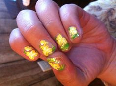 Spring Flowers. With some yellow glitter