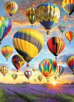 Dozens of Hot Air Balloons lift off for a sunset flight above the lilac fields on a clear summer eve. A scenic 1000 piece puzzle by artist Greg Giordano. Balloon Painting, Diamond Picture, Air Ballon, Hot Air Balloons, Cross Paintings, Oil Paintings, 5d Diamond Painting, Decoration, Puzzles