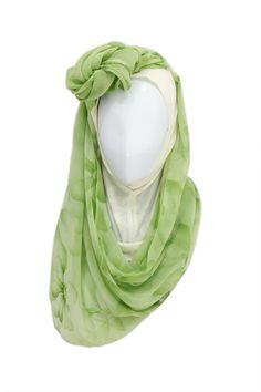 Greeny Hijab  Hijab description  Hijab Material: Chiffon Hijab Color: Green Underscarf Material: Rayon Jersey Knit Underscarf Color: Cream  http://hijabila.com/product/greeny-hijab/