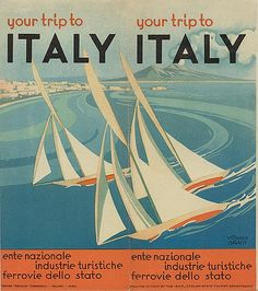 """Vintage Italian Posters ~ #Italian #vintage #posters ~ """"Your Trip to Italy,"""" circa 1935"""