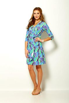 Sara Campbell printed knit mock wrap dress