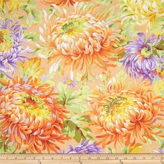 Kaffe Fassett Shaggy Yellow from @fabricdotcom  Designed by Philip Jacobs for Westminster, this cotton print fabric is perfect for quilting, apparel and home decor accents. Colors include red, yellow, white, shades of green, shades of orange, and shades of purple.