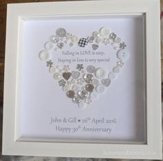 Personalised Heart Wedding Anniversary / New Engagement Button Personalized Engagement Gifts, Personalized Anniversary Gifts, Pearl Anniversary, 25th Wedding Anniversary, Scrabble Art, Anniversary Pictures, Button Cards, Heart Frame, Diy Arts And Crafts