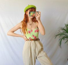 A gorgeous pair of light cream high waisted vintage cord trousers🌻🌱🌻 in a thick ribbed jumbo corduroy that is so soft and and comfy ! Quirky Fashion, Aesthetic Fashion, Look Fashion, Aesthetic Clothes, Retro Fashion, Girl Fashion, 70s Outfits, Mode Outfits, Vintage Outfits