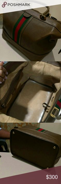 Vintage Gucci Boston bag with Web Timeless brown Gucci Boston bag with signature red and green web . leather is worn damage to lock piece. One piece missing at the bottom but not noticable when carrying. Lots of life left! Statement bag Price negotiable! Gucci Bags Satchels