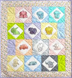 Mylar Curly Elephants Baby Quilt