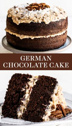 This easy German Chocolate Cake recipe features a homemade moist cocoa cake layered with a from-scratch thick and fudgy coconut pecan frosting and can be made in just over an hour! No mixer required. The BEST dessert idea for birthdays! Easy German Chocolate Cake, Chocolate Cake From Scratch, Cake Recipes From Scratch, Chocolate Desserts, Fun Desserts, German Chocolate Cake Frosting, Chocolate And Vanilla Cake, German Cake, Chocolate Cake Recipe Easy