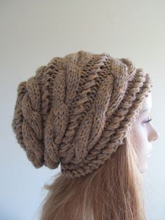 Slouchy Beanie Slouch Hats Oversized Baggy cabled hat  womens Fall Winter accessory Grey Beige Brown  Hand Made Knit