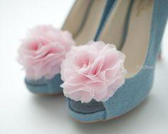 Pink chiffon shoe clips - $18.99 by finkshop on Etsy