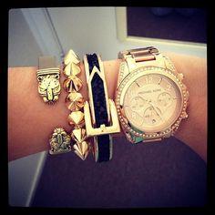 black & gold + leopard / jaguar + stud + buckle + watch + bracelet stack