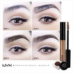 1. Intensify your arch with an angled brush to frame your eyes. 2. Use Tame & Frame Brow Pomade with short feathery strokes to add color to the front of the brow. Shape the top of the brow to give it a better shape. 3. Brush through your brow with Tinted Brow Mascara to set the look! 4. Use concealer to clean up edges and you're done!