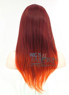 "22"" Long Wavy Orange Mixed Red Ombre Fashion Synthetic Hair Wig PL330 - Wig Is Fashion"
