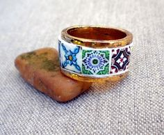 Collage ring from Átrio.  Handcrafted in Portugal.