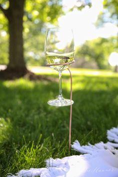 DIY Wine Glass Holders   copper wine stakes tutorial