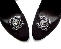Soutache statement shoe clips  long sparkling and by rododendron7, $35.00