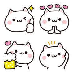 It is an easy-to-use cat emoticon. Face Doodles, Kawaii Doodles, Kawaii Art, Kawaii Stickers, Cute Stickers, Cat Emoticon, Cute Sketches, Cat Icon, Cute Easy Drawings