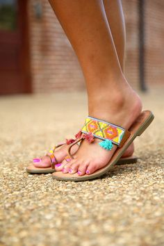 Toe Ring Beaded Sandals.