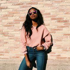 Moletom rosa com jeans.Guita Moda: My it girl: Anne Barreto