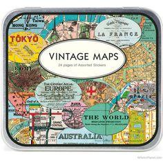 Vintage Maps Sticker Set  http://www.retroplanet.com/PROD/37954