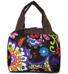 Ladybug Print Insulated Lunch Tote Bag-brown - Handbags, Bling & More!