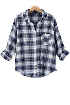 Turn-Down Collar Plaid Pocket Long Sleeve Shirt