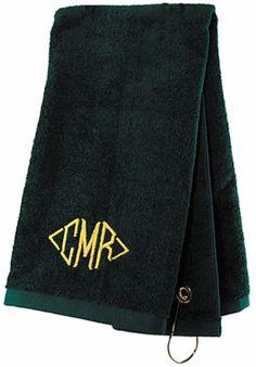Hunter Green Monogrammed Golf Towel
