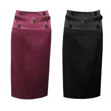 SEXY SATIN BELTED PENCIL SKIRT BLACK or RED 8-30 - PLUS SIZES TOO!
