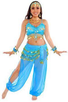 Disney Costume Harem Genie Belly Dancer Costume - JASMINE BLUE / GOLD - This fun belly dancer / harem / genie costume comes with a chiffon Belly Dancer Costumes, Belly Dancers, Dance Costumes, Belly Dancer Halloween Costume, Cool Costumes, Costumes For Women, Matching Costumes, Jasmine Costume