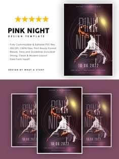 Party Flyer, Print Format, Your Image, Photoshop, Layout, Templates, Night, Pink, Stencils