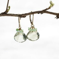 Green Amethyst Dangle Earring