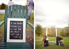 Liz and Mike's Sunapee, NH Wedding by Mat and Ash Photography When We Get Married, Got Married, Getting Married, Diy Your Wedding, Fall Wedding, Wedding Ideas, Pick A Seat, Outdoor Wedding Decorations, Real Couples