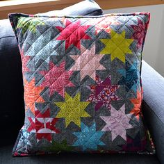 Star Cushion - colours of stars chosen to match the Loulouthi backing fabric by Anna Maria Horner | On the Windy Side