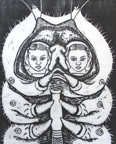 Martha Knox Alice and the Caterpillar (original woodcut) 8 x 10 (image) 9 x 12.5 (paper) Oil based ink on Kozo paper
