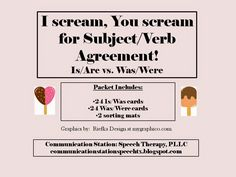 Speechie Freebies: I Scream/You Scream for Subject/Verb Agreement. Pinned by SOS Inc. Resources. Follow all our boards at pinterest.com/sostherapy/ for therapy resources.