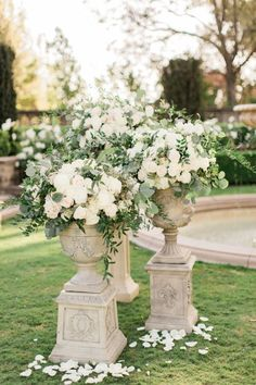 Greenery and rose wedding altar flowers