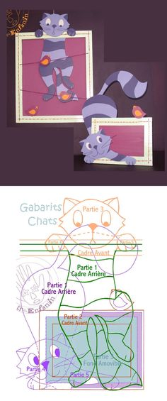 Chat Patterns - Tutorial and Templates Painting For Kids, Art For Kids, Crafts For Kids, Animation Classes, Paper Art, Paper Crafts, Photo Chat, Cat Quilt, Cat Cards